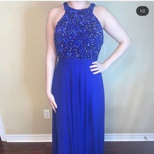Royal Blue Sequin Prom Gown
